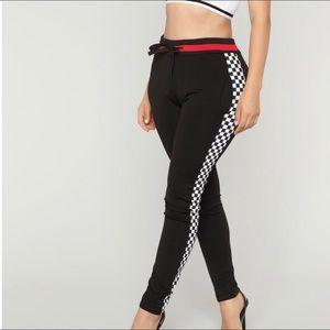 Fashion Nova Race me There Checker Jogger Pants